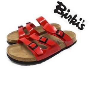 Birkenstock Havanna  birkins red slip in sandals 7